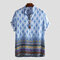 Mens Breathable Ethnic Printed Short Sleeve Stand Collar Henley Shirt