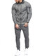 Mens Solid Color Hooded Sweatshirts Elastic Waist Pants Two Pieces Outfits - Dark Gray