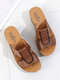 Women  Pleated Decoration Solid Color Comfortable Wedges Heels Slippers - Brown