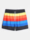 Mens Rainbow Striped Breathable Quick Dry Board Shorts With Pocket - Black