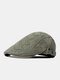 Men Washed Distressed Cotton Solid Argyle Letter Pattern Embroidery Simple Sunscreen Beret Flat Cap - Green