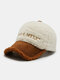 Women Letter Embroidery Pattern Contrast Color Warm Fashion Personality Sunvisor Baseball Hat - White 1#