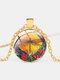 Vintage Dragonfly Printed Women Necklace Adjustable Flower Glass Pendant Necklace - Gold