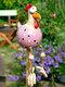 庭の芸術の装飾チキンガーデン芝生プラグ編鶏の装飾品彫像エッジシーター屋内屋外裏庭の装飾 - ピンク