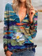 Casual Floral Printed V-neck Zipper Long Sleeve Blouse - Blue