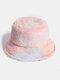 Donna Colorful Cappello secchio in peluche caldo Cappello da secchio elegante selvaggio sfumato esterno - #01
