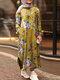 Flowers Print Split Hem Plus Size Casual Dress with Pockets - Yellow
