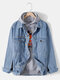 Mens Letter Embroidery Button Front Cotton Outdoor Stylish Denim Jackets With Pocket - Blue