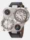 3 Colors Leather Alloy Men Vintage Watch Decorated Pointer Two Time Zone Compass Thermometer Quartz Watch - White