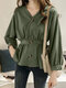 Solid Color Long Sleeve V-neck Button Blouse For Women - Green