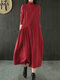 Casual Solid Color Half Collar Long Sleeve Plus Size Pleated Dress - Red