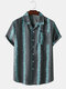 Mens Plant Striped Revere Collar Button Up Holiday Shirt - Gray