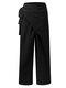 非対称ノットワイドレッグPlusサイズプリーツパンツポケット付き - ブラック