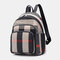 Women Gingham Anti-theft Patchwork Large Capacity Backpack - Black