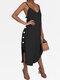 ソリッドカラーのセクシーなVネックのドレスビーチドレス - ブラック