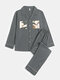 Mens Double Pockets Patchwork Lapel Loungewear Casual Loose Long Sleeve Home Pajamas Sets - Gray