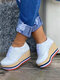 Large Size Lace Up Espadrilles Platform Wedges Loafers For Women - White