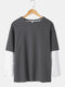 Mens Faux Twinset Two Tone Patchwork Crew Neck Casual Cotton Sweatshirt - Gray