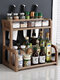 Kitchen Shelf Double-layer Spice Rack With Five-grid Seasoning Box Multi-function Rack With Cutting Board Rack And Knife Rack - #03