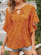 Dot Print O-neck Bell Half Sleeve Knotted Loose Chiffon Blouse - Yellow