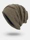 Men Winter Plus Velvet Letter Striped Pattern Outdoor Knitted Warm Beanie Hat - Khaki