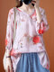 Flower Printed Long Sleeve Notched Neck Blouse For Women - Pink