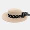 Women Flat Hat Outdoor Travel Jazz Straw Hat Sun Protection Sun Hat Beach Hat - Pink