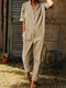 Casual Solid Color V-neck Pockets Stand Collar Long Sleeve Jumpsuit - Khaki