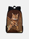 Women Oxford Patchwork Large Capacity Cat Pattern Printing Backpack - Brown
