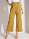 Solid Color Plain Knotted Long Casual Pants for Women - Yellow