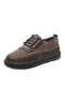 Women Casual Lace-up Stitching Single Shoes Brief Solid Color Soft Comfy Flats - Coffee