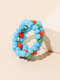 1 PC / 6 Pcs Set Brief Ins Colorful Braided Millet Bead Rings - Blue