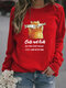 Cartoon Cat Printed Casual Long Sleeve T-Shirt For Women - Red
