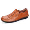 Men Retro Slip-on Hard Wearing Hand Stitching Casual Business Shoes - Brown