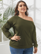 Solid Color Off Shoulder Long Sleeve Plus Size Blouse for Women - Army Green