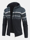 Mens Ethnic Style Knitted Woolen Zipper Drawstring Hooded Sweater Cardigan - Blue