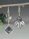 S925 Alloy Geometric Tree Leaf Labradorite Free Combination Asymmetric Earrings - #03