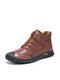Men Soft Hand Stitching Lace-up Short-top Casual Business Ankle Boots - Brown