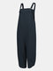 Casual Solid Color Straps Plus Size Jumpsuits with Pockets - Blue