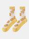 جوارب حريرية حريرية أنيقة بنمط رسوم متحركة فواكه للسيدات - دوريان أصفر