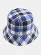 Women & Men Plaid Pattern Retro Port Style Windproof Soft All-match Travel Bucket Hat - #15