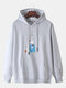 Mens Cotton Cartoon Cat Print Solid Color Drawstring Hoodies With Muff Pocket - Grey