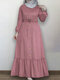 Solid Color Button Pleated Waistband Long Sleeve Casual Muslim Dress - Pink