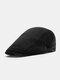 Men Cotton Solid Color Casual All-match Beret Flat Cap - Black