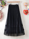 Flower Lace Embroidery Pleated Mesh Overlay both Side Tulle Skirt - Black#1