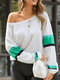 Striped Patchwork Long Sleeve Casual T-Shirt For Women - Green