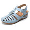 LOSTISY Hollow Out Flower Hook Loop Comfortable Light Wedges Sandals - Light Blue