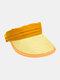 Unisex Straw Color Contrast Wide Brim Adjustable Breathable SunscreenEmpty Top Cap Baseball Hat - Orange