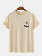 Mens Anchor Graphics 100% Cotton Short Sleeve Casual T-Shirt - Apricot