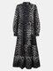 Leopard Print Pleated Long Sleeve Casual Dress for Women - Blue